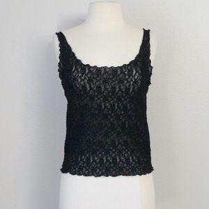 vintage 80s black lace cami sheer mesh camisole
